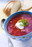 Borsch - soupe ukrainienne traditionnelle à betteraves et à chou Photo libre de droits