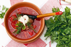 Borsch with sour cream Royalty Free Stock Photography