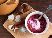 Borsch tradicional ucraniana da sopa Fotografia de Stock
