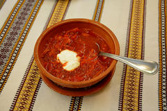 Borsch. Traditional russian and ukrainian red soup with sour cream Stock Photos