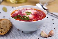 Borsch. Traditional Russian and Ukrainian vegetable soup royalty free stock photos