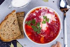 Borsch. Traditional Russian and Ukrainian vegetable soup. Top vi stock photos
