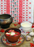 Borsch, traditional Ukrainian beet and sour cream soup Stock Images