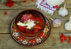Borsch, traditional Ukrainian beet and sour cream soup Royalty Free Stock Photos