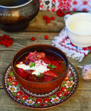 Borsch, traditional Ukrainian beet and sour cream soup Stock Image