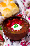 Borsch, traditional Ukrainian beet and sour cream soup Royalty Free Stock Images