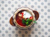 Borsch tradizionale ucraino Minestra rossa vegetariana russa in ciotola bianca Immagini Stock Libere da Diritti