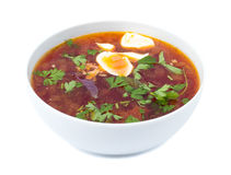 Borsch in a white bowl Royalty Free Stock Image