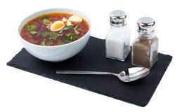 Borsch in a white bowl Stock Image