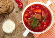 Borsch in white bowl . Red beetroot traditional soup. Royalty Free Stock Image