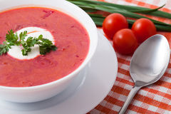 Borsch in a white dish Stock Photo