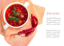 Borsch in white plate isolated on white. Red traditional beetroo Stock Photo
