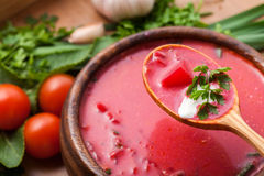 Borsch in a wooden plate Stock Photography
