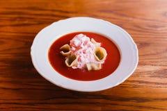 borschred汤,用酸性稀奶油装饰的饺子的侧视图 库存照片