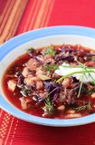 Borscht. Red beet based soup with beef meat stock photography
