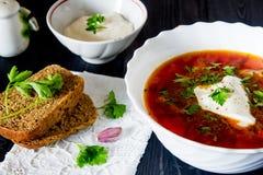 Μεγάλο κύπελλο του borscht με την ξινά κρέμα και τα χορτάρια Στοκ φωτογραφία με δικαίωμα ελεύθερης χρήσης