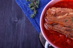 Borscht with beef. Traditional soup of Ukrainian and Russian cuisines. Copy space stock photography