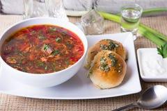 Borscht/Borschtsch Traditionelle russische und ukrainische Suppe Brötchen mit Knoblauch lizenzfreies stockbild