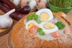 Borscht do branco de Easter fotos de stock