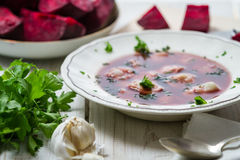 Borscht with dumplings for Christmas royalty free stock photography