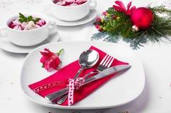 Borscht festivo com bolinhas de massa Imagem de Stock Royalty Free