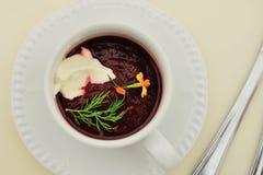 Borscht freddo della minestra (borshch) Fotografie Stock Libere da Diritti