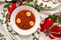 Borscht with ravioli Royalty Free Stock Photo
