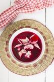 Borscht rouge avec des boulettes Images libres de droits