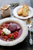 Borscht. Russian traditional beetroot soup - borscht Stock Photos
