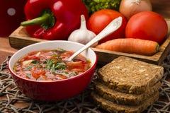 Borscht - sopa de beterrabas tradicional do russo e do ucraniano na bacia vermelha no fundo de madeira Imagens de Stock