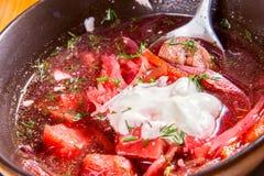 borscht Sopa de remolachas ucraniana Imagen de archivo