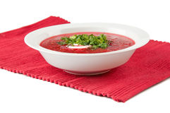 Borscht Soup. Red borsch with sour cream and parsley Royalty Free Stock Photos