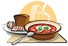 Borscht soup and garlic with ham. Traditional borscht soup, bread and garlic with ham Royalty Free Stock Image