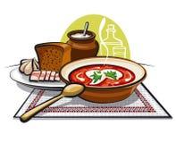 Borscht soup and lard with garlic Stock Photo