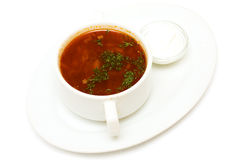 Borscht soup and sour cream Royalty Free Stock Photo