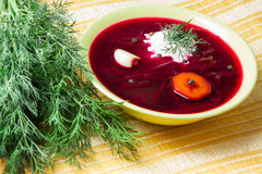Borscht with sour cream and dill. Borscht with sour cream, dill and garlic Royalty Free Stock Images