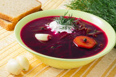 Borscht with sour cream and dill. Borscht with sour cream, dill and garlic Royalty Free Stock Photography