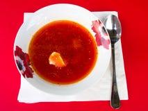 Borscht with sour cream. In the plate Stock Photos