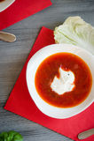 Borscht with sour cream plate Stock Image