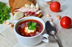 Borscht tradicional ucraniano delicioso caseiro da sopa com pão de centeio, bacon, alho, tomates e salsa em um fundo claro foto de stock royalty free