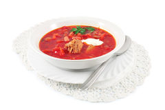 Borscht Traditional Russian red soup Stock Images