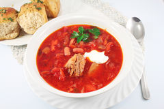 Borscht Traditional Russian red soup Stock Photography