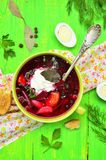Borscht,traditional russian and ukrainian beetroot soup. Stock Image