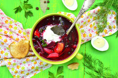 Borscht,traditional russian and ukrainian beetroot soup. Stock Photo