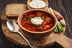 Borscht - traditionell ryss- och ukrainarerödbetasoppa på träbakgrund arkivfoto