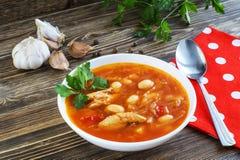 Borscht ucraniano nacional tradicional da sopa da beterraba Imagem de Stock Royalty Free