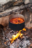 Borscht (Ukrainian soup) cooking on campfire Royalty Free Stock Images