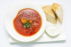 Borscht ukrainien avec du boeuf, le vert, le pain et la crème sure dans le petit morceau photographie stock