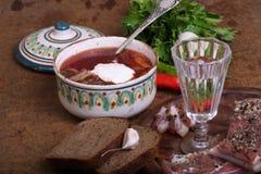 Borschtsch gesandt mit Wodka und salzigem Fett lizenzfreies stockfoto