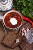 Borschtsch mit Sauerrahm, Schwarzbrot mit Knoblauch, salzigem Fett und v lizenzfreies stockfoto